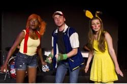 Heather Ensley as Misty, Seth Salsbury as Ash and Kelsey Schulte as Pikachu