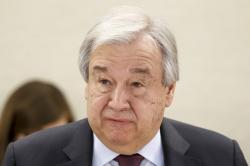 U.N. Secretary-General Antonio Guterres addresses his statement, during the opening of the High-Level Segment of the 43rd session of the Human Rights Council, at the European headquarters of the United Nations in Geneva, Switzerland, Monday, Feb. 24, 2020