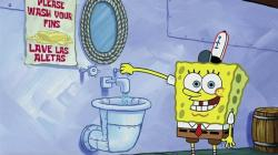 This image released by Nickelodeon shows animated character SpongeBob SquarePants demonstrating effective handwashing in a video to be shown on Nickelodeon's cable and digital platforms