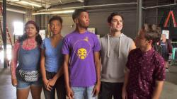 """This image released by Netflix shows, from left, Jessica Marie Garcia, Sierra Capri, Brett Gray, Diego Tinoco and Jason Genao from the series """"On My Block."""""""