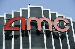 The AMC sign appears at AMC Burbank 16 movie theater complex in Burbank, Calif.
