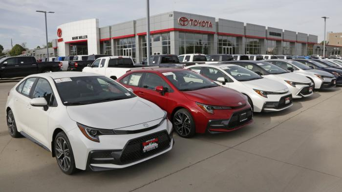 In this May 12, 2020 photo, Toyota's are shown on the lot of Mark Miller Toyota Dealership in Salt Lake City
