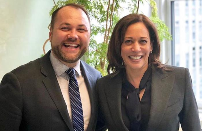 Corey Johnson, left, with Kamala Harris, right.