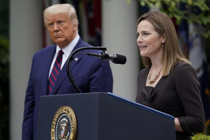 Judge Amy Coney Barrett speaks after President Donald Trump announced Barrett as his nominee to the Supreme Court, in the Rose Garden at the White House.
