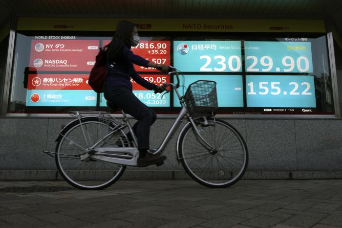 A woman rides a bicycle past an electronic stock board showing Japan's Nikkei 225 index at a securities firm in Tokyo Friday, Oct. 2, 2020