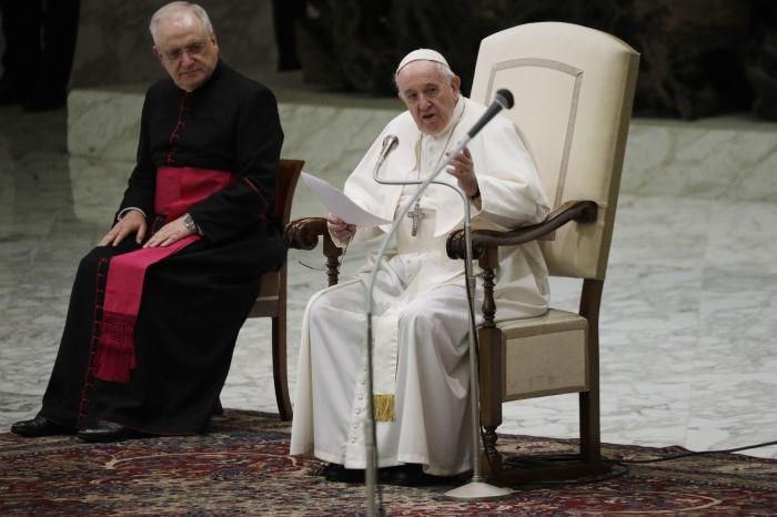 Pope Francis delivers his message on the occasion of the weekly general audience in the Paul VI hall at the Vatican.
