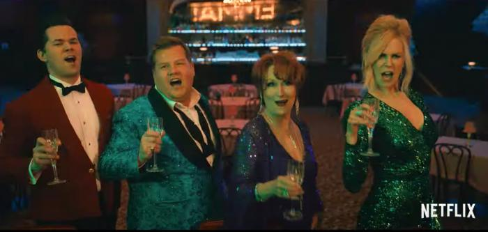 From left to right: Andrew Rannells, James Corden, Meryl Streep, and Nicole Kidman.