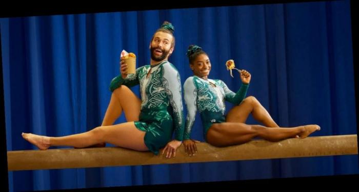 Jonathan Van Ness and Simone Biles in a promotional pic for UberEats