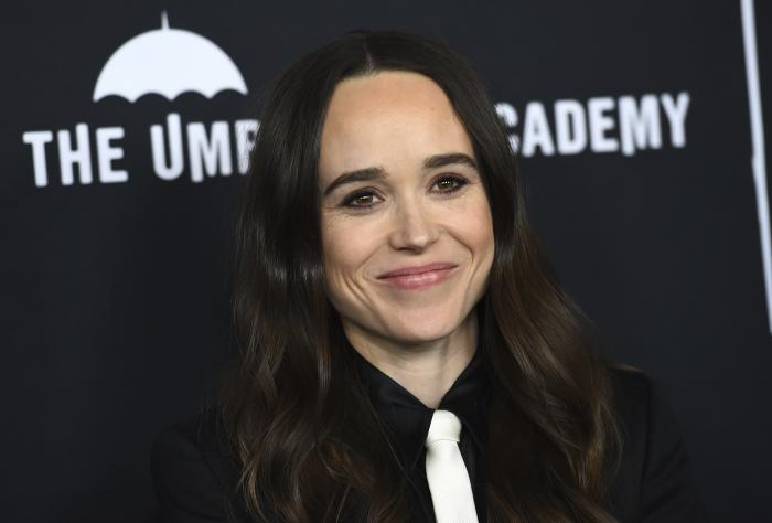 """Elliot Page arrives at the Los Angeles premiere of """"The Umbrella Academy"""" on Feb. 12, 2019."""