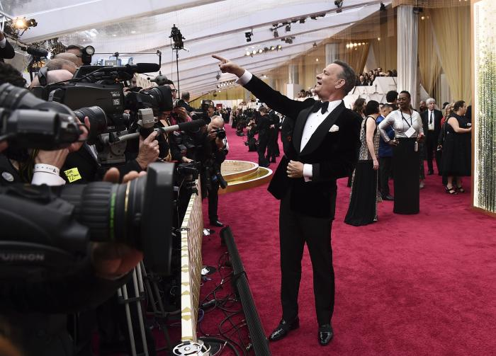 Tom Hanks arrives at the Oscars in Los Angeles on Feb. 9, 2020. Hollywood's awards season has gone virtual.