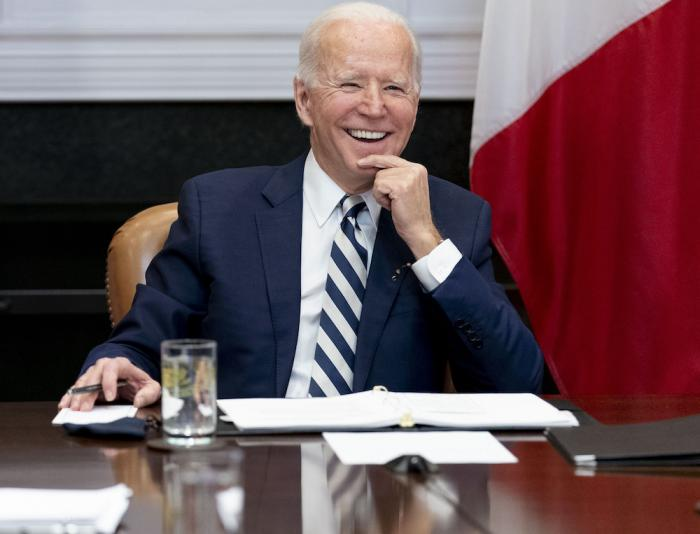 In this March 1, 2021, file photo President Joe Biden speaks during a virtual meeting.