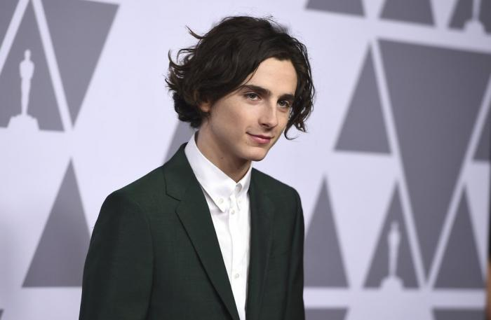 Timothee Chalamet arrives at the 90th Academy Awards Nominees Luncheon at The Beverly Hilton hotel.