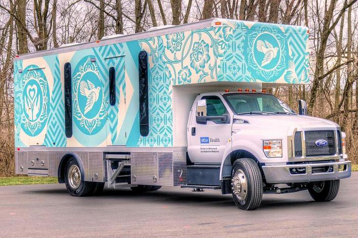 One of five mobile health clinics deployed for the NIH-funded INTEGRA study. Artwork for the clinic was designed by artist Shepard Fairey.