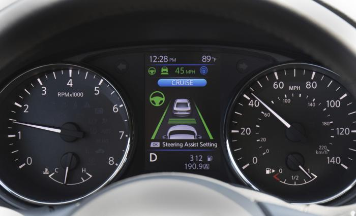 This photo provided by Nissan shows a 2021 Chevrolet Rogue with Nissan ProPilot Assist. The instrument cluster shows information related to the vehicle's driver aids