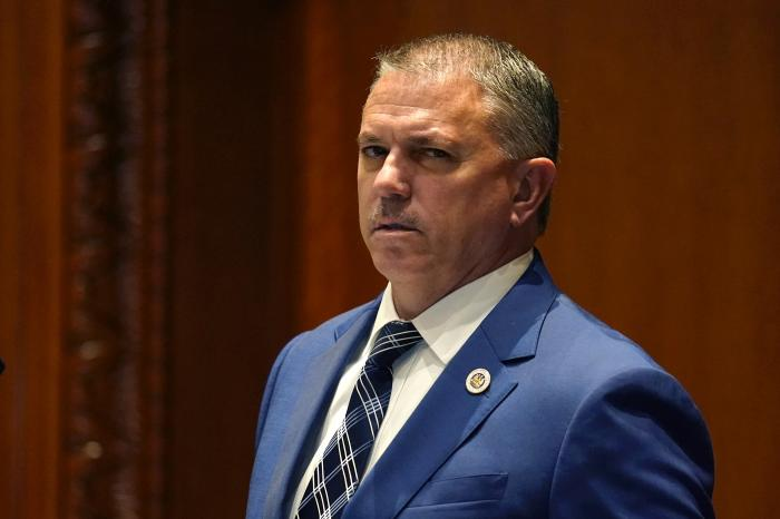House Speaker Clay Schexnayder waits to hear results of votes in the Senate Chambers during a veto session in Baton Rouge, La.
