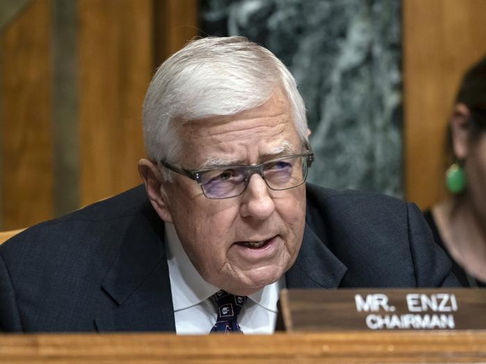 In this March 27, 2019, file photo, Sen. Mike Enzi, R-Wyo., chairman of the Senate Budget Committee, makes an opening statement on the fiscal year 2020 budget resolution, on Capitol Hill in Washington