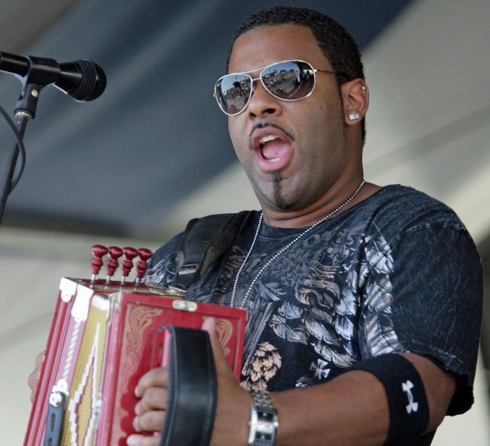 In this Sunday, May 4, 2008, file photo, Chris Ardoin, of Chris Ardoin & NuStep, performs during the 2008 New Orleans Jazz & Heritage Festival at the New Orleans Fairgrounds Racetrack in New Orleans.