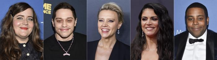 """Cast members from """"Saturday Night Live,"""" from left, Aidy Bryant, Pete Davidson, Kate McKinnon, Cecily Strong and Kenan Thompson."""