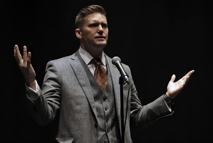 Richard Spencer, a white supremacist, speaks at the University of Florida in Gainesville, Fla.